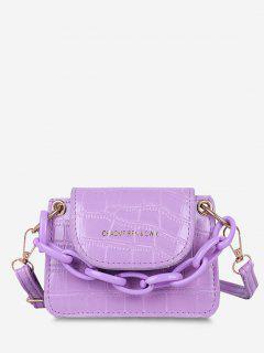 Boxy Embossed Flap Mini Crossbody Bag - Lilac