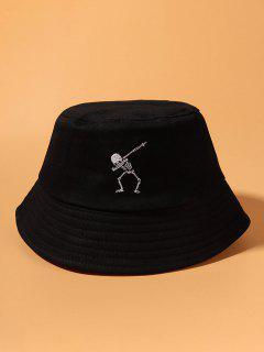 Embroidery Skeleton Bucket Hat - Black
