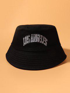 Embroidery Letter Pattern Bucket Hat - Black