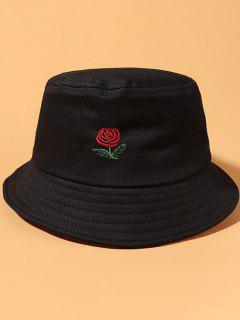Rose Embroidered Casual Bucket Hat - Black