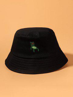 Embroidered Frog Pattern Bucket Hat - Black