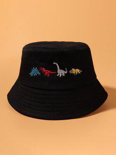 수 놓은 공룡 양동이 모자 - 검정