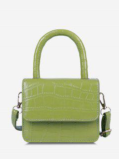 Embossed Dual Handle Flap Micro Crossbody Bag - Tea Green