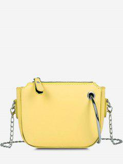 Metal Ring Embellishment Chain Crossbody Bag - Sun Yellow