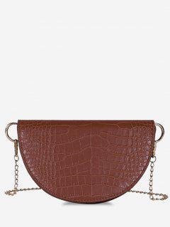 Semicircle Embossed Flap Chain Shoulder Bag - Light Brown
