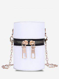 Faux Patent Leather Cylinder Micro Crossbody Bag - Milk White