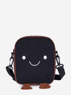 Lovely Smiling Face Casual Crossbody Bag - Black