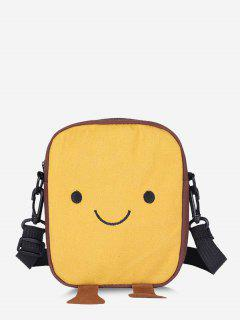 Lovely Smiling Face Casual Crossbody Bag - Sun Yellow