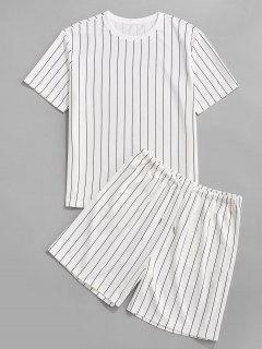 Stripe T-shirt And Shorts Two Piece Set - White L