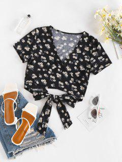 ZAFUL Ditsy Floral Bowtie Crop Wrap Blouse - Black S