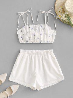 ZAFUL Tie Floral Broderie Anglaise Top And Short Set - White S