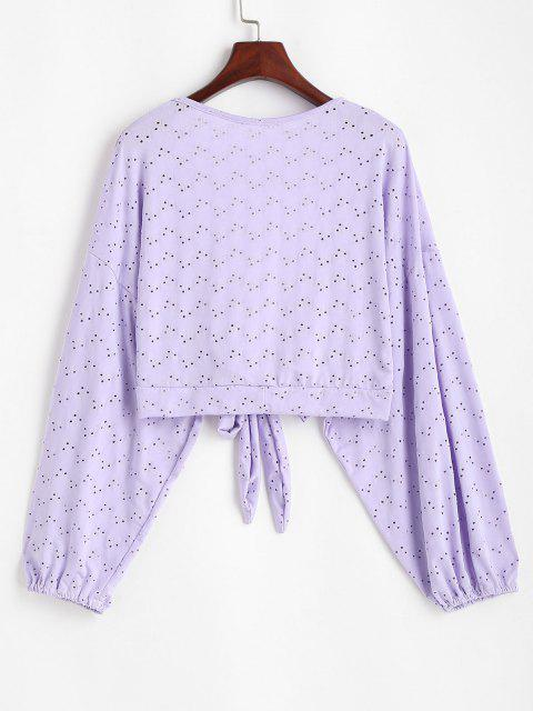women's Broderie Anglaise Batwing Tie Front Top - LILAC ONE SIZE Mobile
