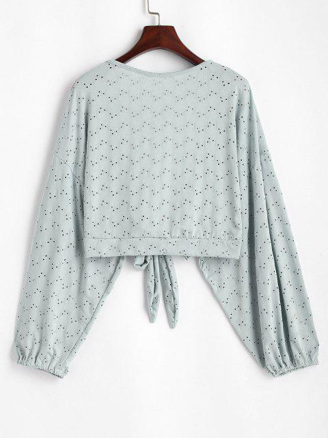 best Broderie Anglaise Batwing Tie Front Top - LIGHT GREEN ONE SIZE Mobile