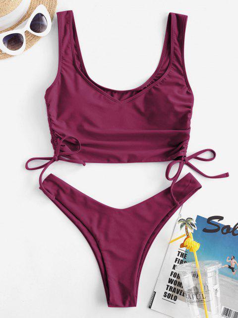 affordable ZAFUL Cinched High Leg Tankini Swimwear - PLUM PIE L Mobile