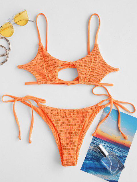 ZAFUL Schlüsselloch Smocked Bikini mit Schnur - Orange S Mobile
