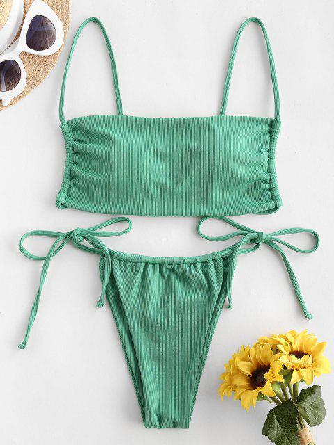 latest ZAFUL Ribbed Tie Side String Bikini Swimwear - GREEN S Mobile