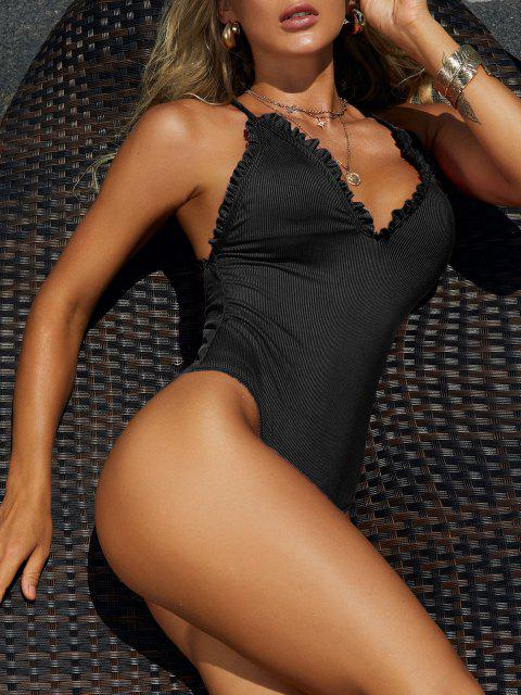 ZAFUL Frilled Trim Ribbed Lace-up One-piece Swimsuit - أسود M Mobile