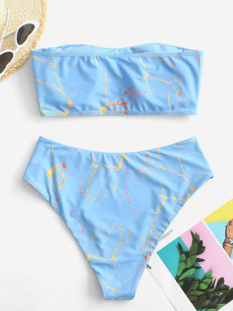 fashion ZAFUL Marble Print High Waisted Bandeau Bikini Set - LIGHT BLUE M Mobile