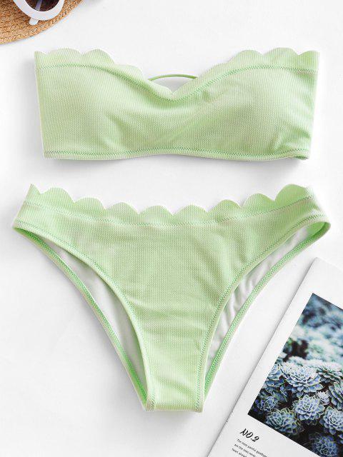 ZAFUL Maillot de Bain Bikini Bandeau Texturé Festonné - Vert Menthe M Mobile