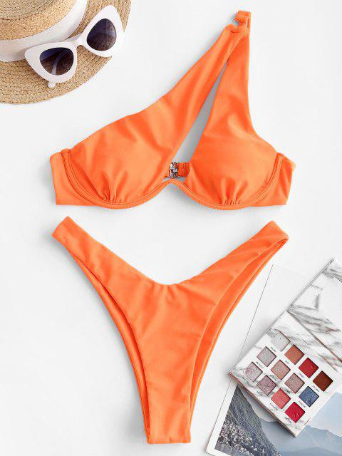 ZAFUL Einziger Schulter Bügel Bikini Badebekleidung mit Hohem Ausschnitt - Orange M Mobile