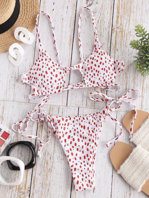 hot ZAFUL Dalmatian Snake Print Tie Cutout Bikini Swimsuit - RED S Mobile