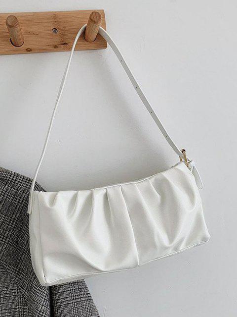 women's Minimalist Ruched Soft Shoulder Bag - WHITE  Mobile