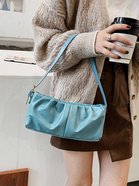 best Minimalist Ruched Soft Shoulder Bag - MACAW BLUE GREEN  Mobile