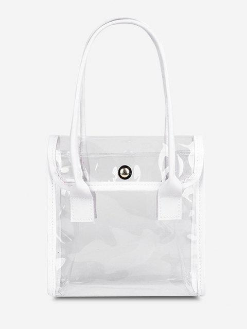 shop Transparent Binding Square Flap Tote Bag - MILK WHITE  Mobile
