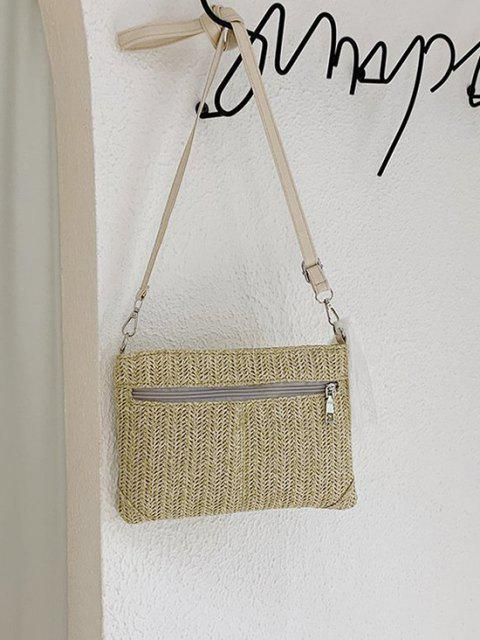 outfit Hemp Woven Lace Tie Shoulder Bag - LIGHT KHAKI  Mobile