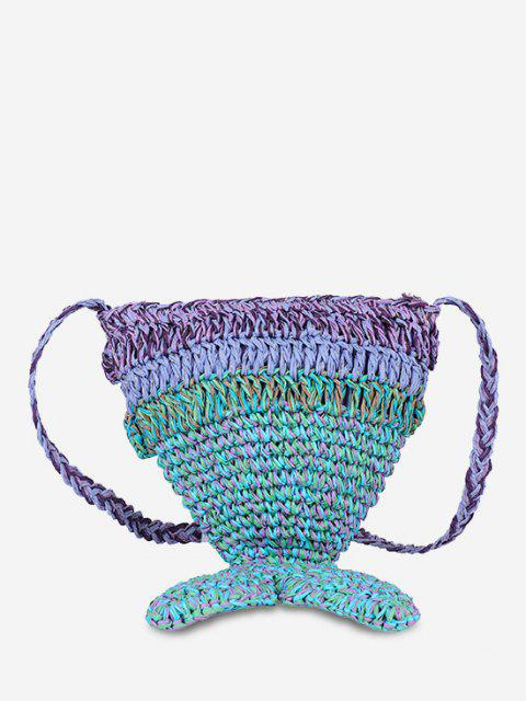 outfits Mermaid Tail Woven Beach  Crossbody Bag - CLOVER GREEN  Mobile