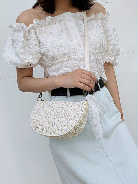 shops Floral Woven Lace Tied Crossbody Bag - WARM WHITE  Mobile