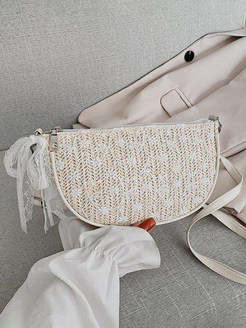 Sac à Bandoulière Tressé Noué Fleuri en Dentelle - Blanc Chaud  Mobile