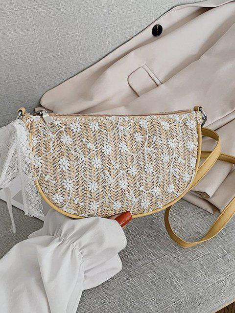 latest Floral Woven Lace Tied Crossbody Bag - LIGHT KHAKI  Mobile