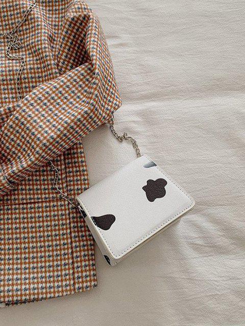trendy Cow Print Flap Chain Mini Crossbody Bag - BLACK  Mobile