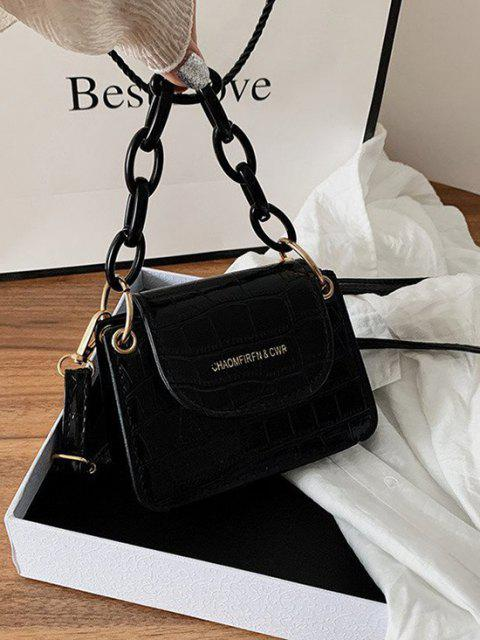 chic Boxy Embossed Flap Mini Crossbody Bag - BLACK  Mobile