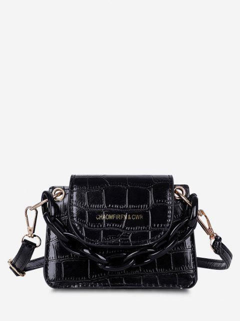 Boxy Embossed Flap Mini Crossbody Bag - أسود  Mobile