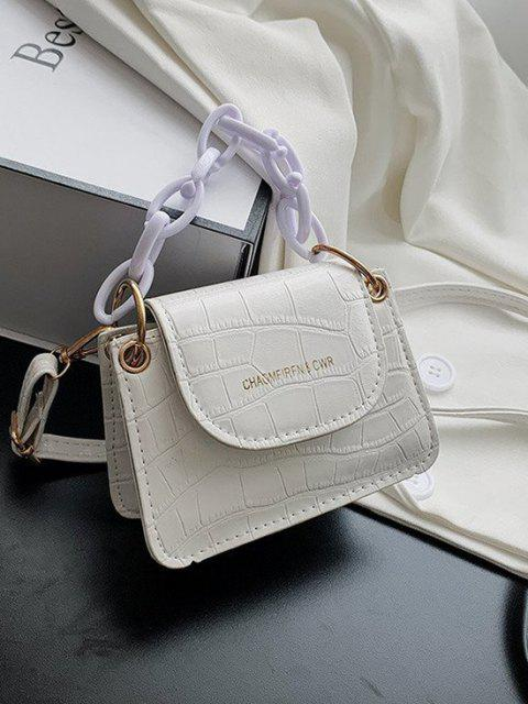 fancy Boxy Embossed Flap Mini Crossbody Bag - WHITE  Mobile