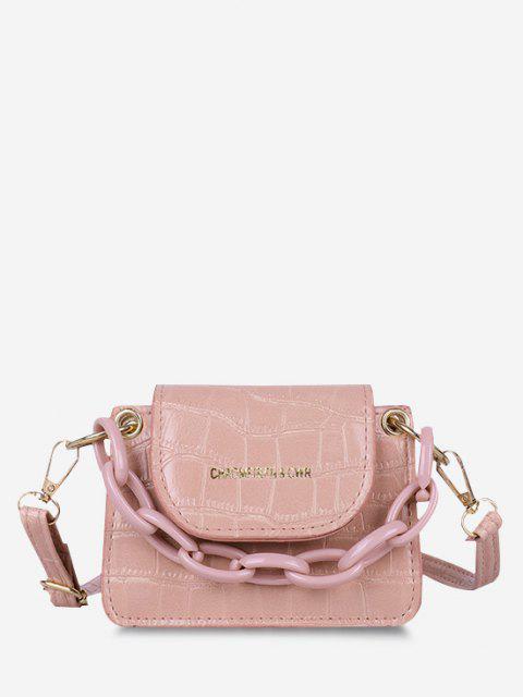 Boxy Embossed Flap Mini Crossbody Bag - زهري  Mobile