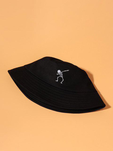 chic Embroidery Skeleton Bucket Hat - BLACK  Mobile