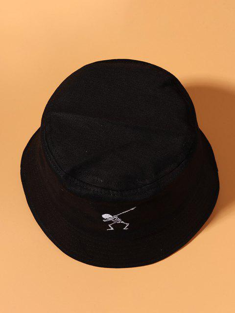 Embroidery Skeleton Bucket Hat - أسود  Mobile