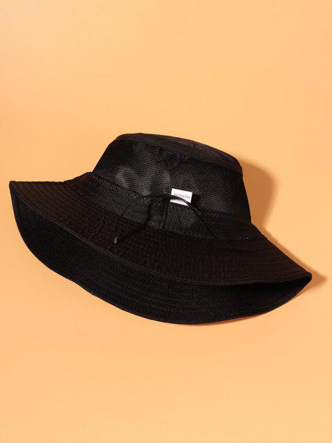 fancy Embroidery Letter Pattern Bucket Hat - BLACK  Mobile