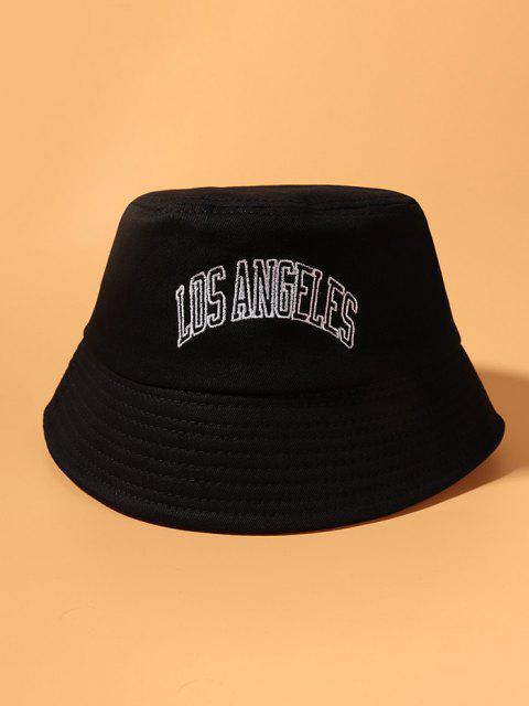 Embroidery Letter Pattern Bucket Hat - أسود  Mobile