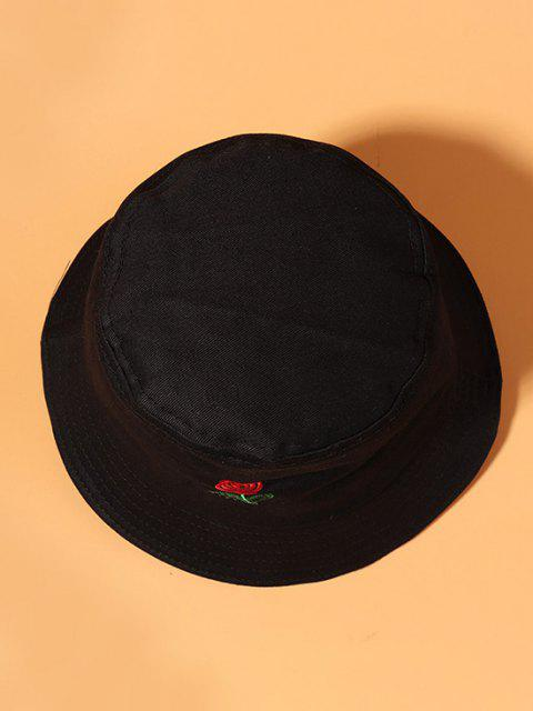 Rose Embroidered Casual Bucket Hat - أسود  Mobile