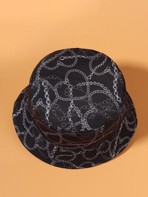 Casual Chain Print Outdoor Bucket Hat - داكن سليت أزرق  Mobile