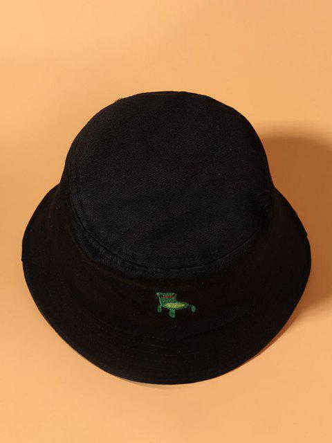 best Embroidered Frog Pattern Bucket Hat - BLACK  Mobile
