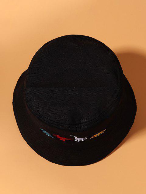 Embroidered Dinosaur Bucket Hat - أسود  Mobile