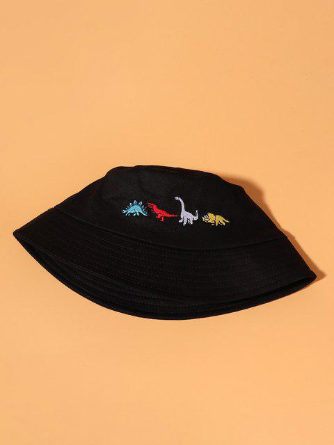 Cappello da Pescatore con Ricamo Dinosauro - Nero  Mobile