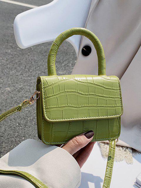 chic Embossed Dual Handle Flap Micro Crossbody Bag - TEA GREEN  Mobile