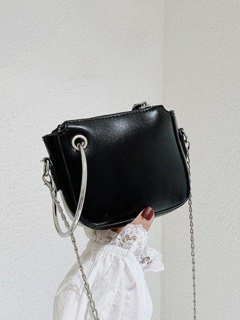 金属リングの装飾チェーンショルダーバッグ - ブラック  Mobile