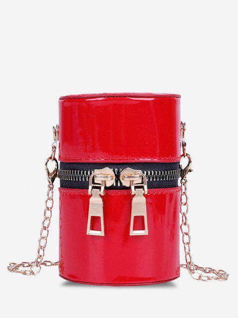 Sac à Bandoulière Cylindre en Cuir Verni - Rouge  Mobile
